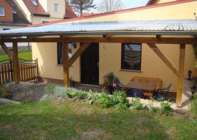 Gartenblick auf das Ferienhaus zu Wohlborn